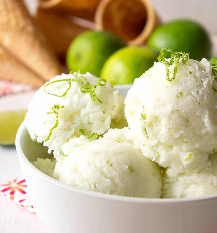 Scoops of lime sherbet in a bowl.