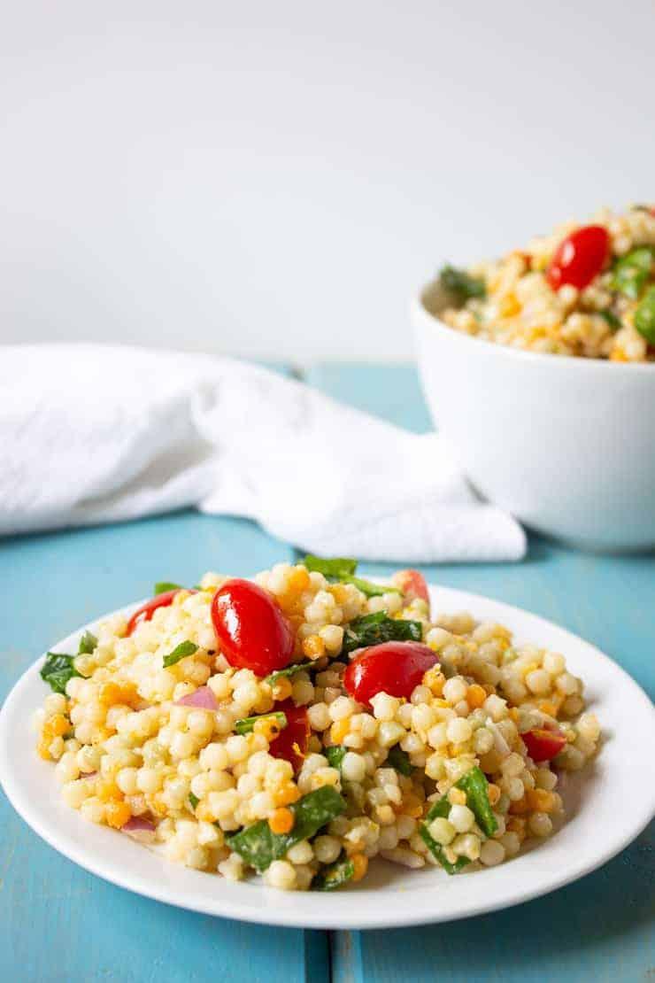 Israeli Couscous salad is perfect for potlucks, picnics and summertime BBQs.