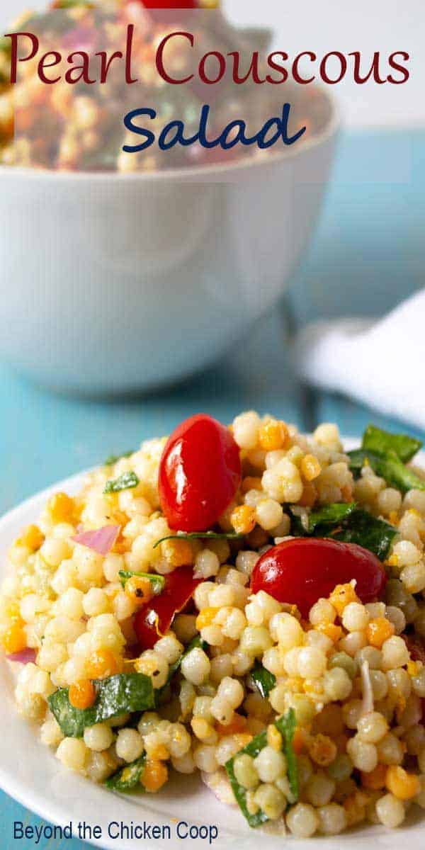 Couscous salad with spinach and tomatoes