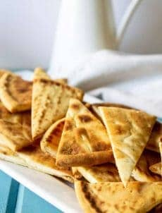 Quick Pita Chips make a delicious snack. These chips are perfect with hummus or just by themselves.