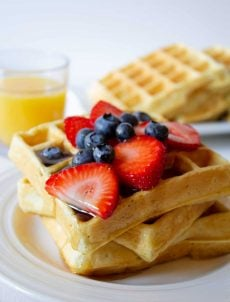 Quinoa Waffles are a favorite for breakfast or brunch. The quinoa becomes hidden in these waffles adding extra protein and nutrients but doesn't change the delicious taste of the waffles.