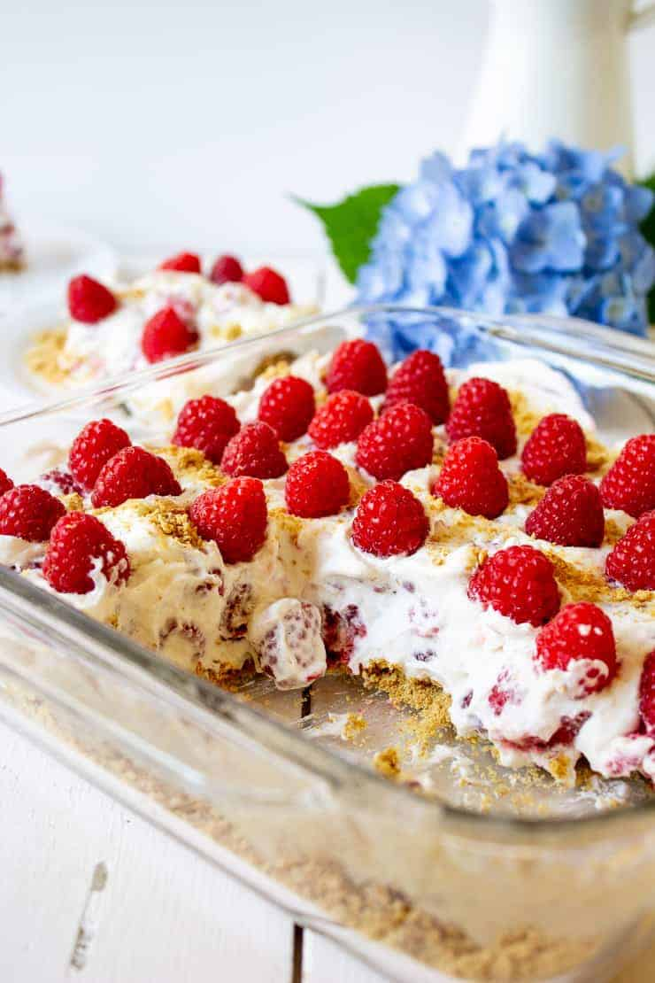 Fresh Raspberry Delight is a delicious no-bake dessert. Made with fresh raspberries, whipped cream and graham crackers.