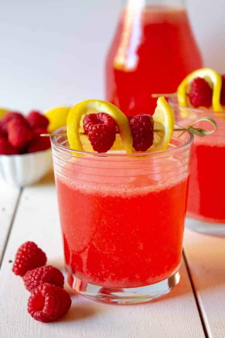 Fresh squeezed lemonade with added raspberries. A perfect beverage for summertime.