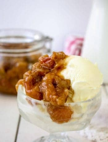 Homemade rhubarb sauce is perfect over a scoop of vanilla ice cream