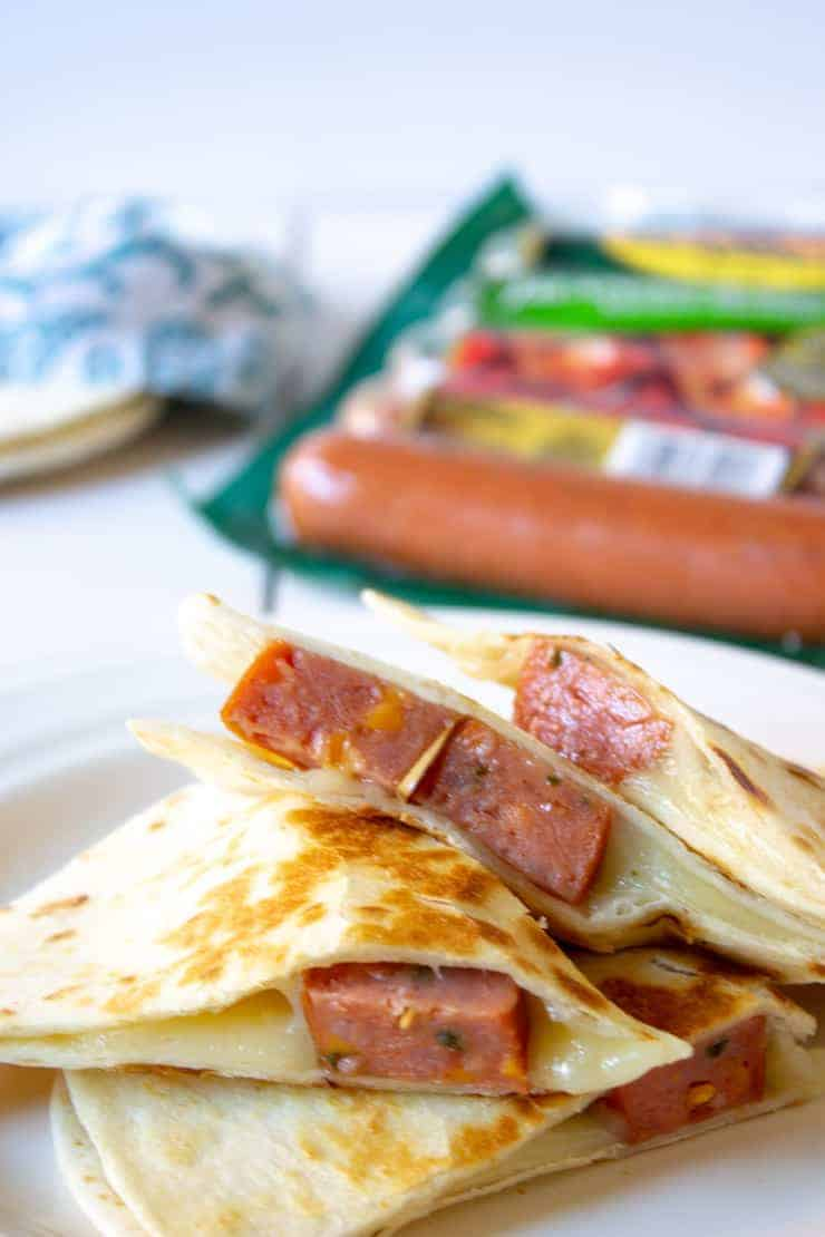 Simple and Savory Smoked sausage quesadilla is a fast and easy lunch or dinner.