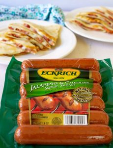 Eckrich Smoked Sausages are perfect to have on hand for those busy days. Simple and Savory Smoked sausage quesadillas are a perfect quick meal.