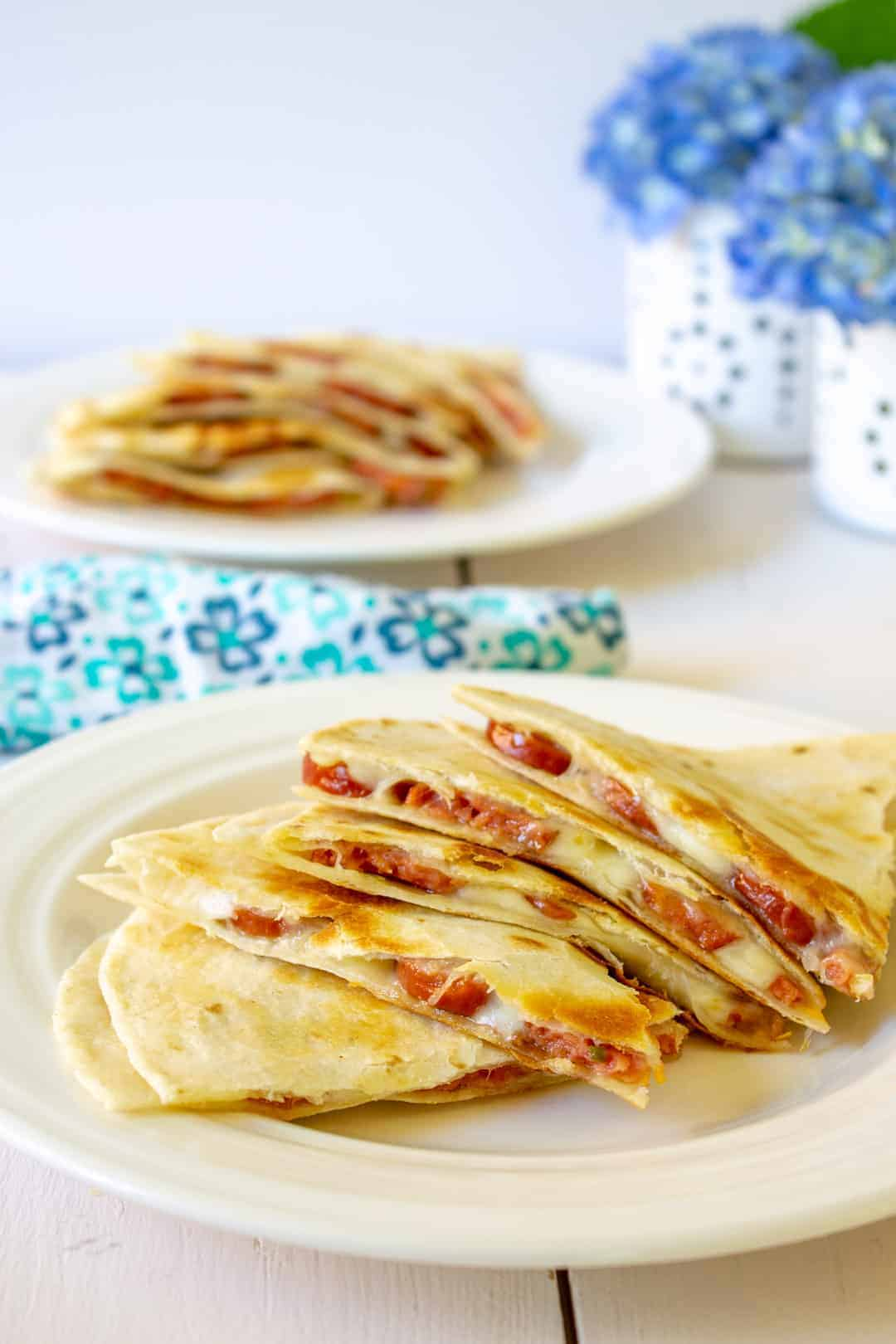 Smoked sausage quesadillas are a delicious way to get lunch or dinner on the table in a flash.
