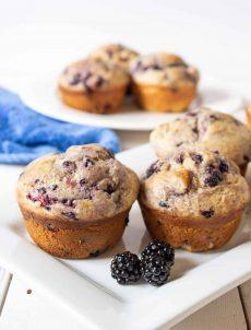 Homemade blackberry muffins made with fresh blackberries.