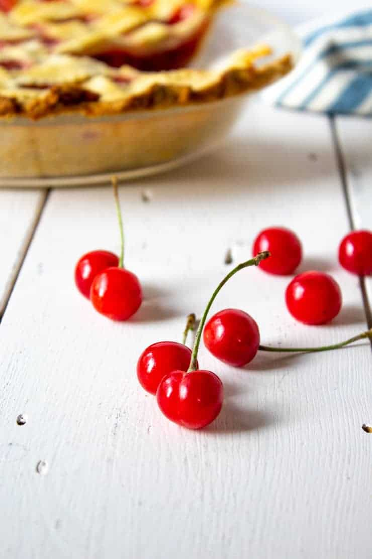 Freshly picked pie cherries next to a homemade cherry dessert.