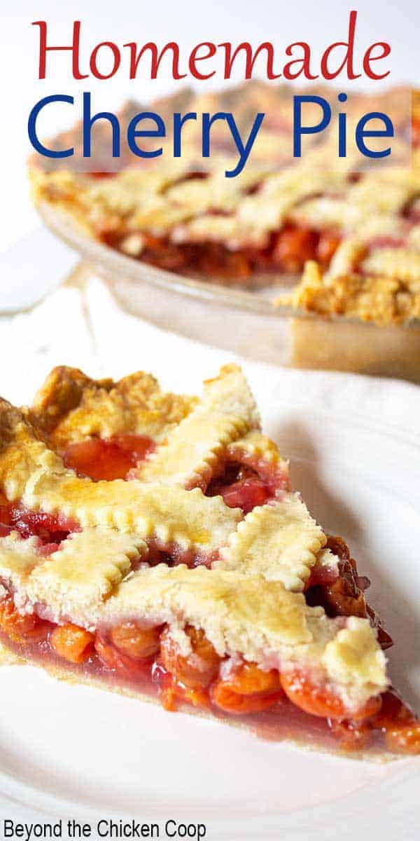 A slice of cherry pie topped with a lattice crust.