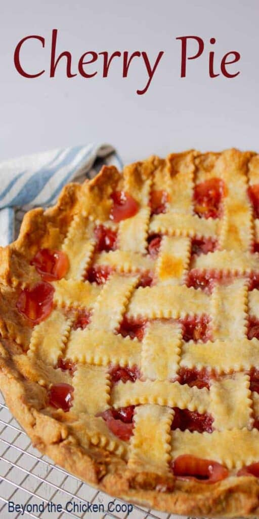 Cherry pie with a lattice crust.