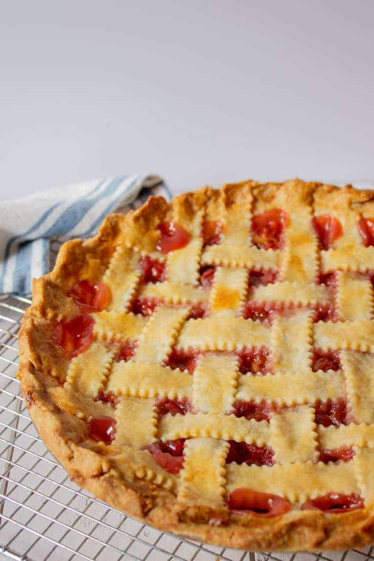 Homemade Cherry Pie with a lattice crust.