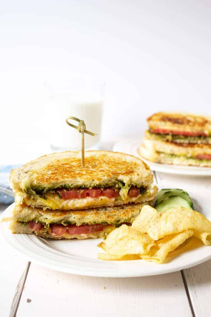 Tomato Pesto Grilled Cheese sandwich with Gouda and Parmesan Cheese