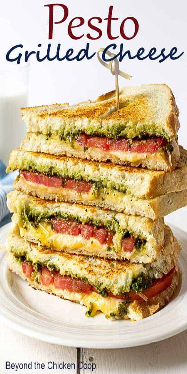 A stack of toasted cheese sandwiches.