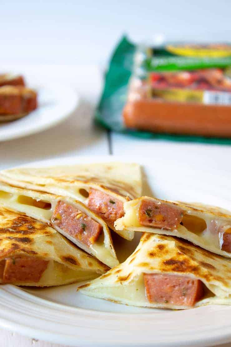 These Simple and Savory Smoke Sausage Quesadillas are perfect for getting a delicious lunch on the table in a jiffy!