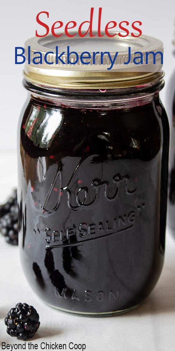 A glass canning jar filled with jam and fresh blackberries around the jar.