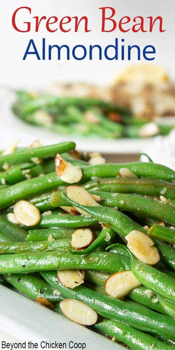 Fresh green beans topped with sliced almonds.