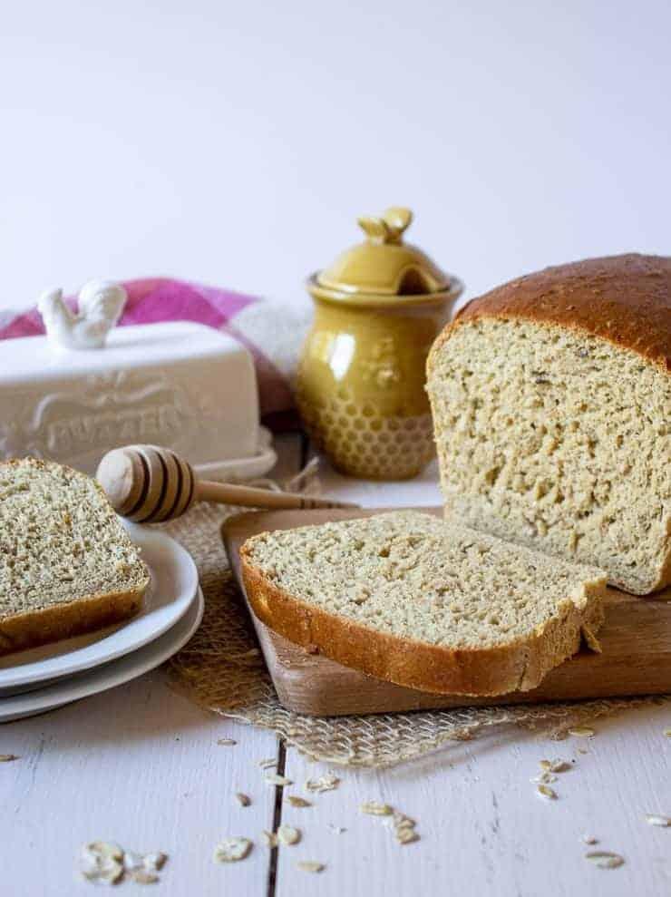 Freshly cut Homemade White Wheat Bread