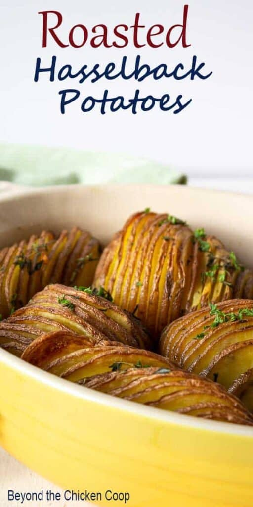 Sliced red potatoes in a baking dish