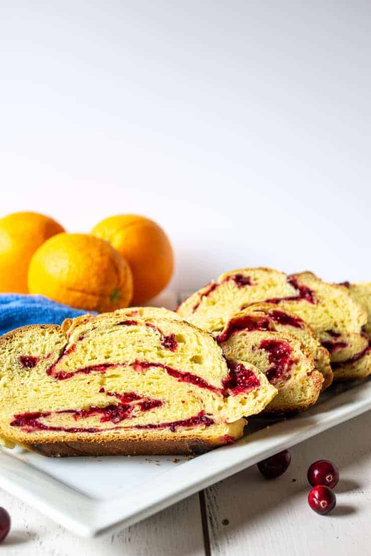 Sliced Cranberry Twisted Bread served on a platter.