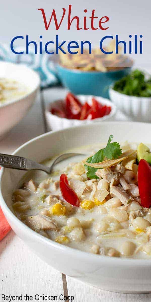 A bowl filled with white beans and chicken with a thick broth.