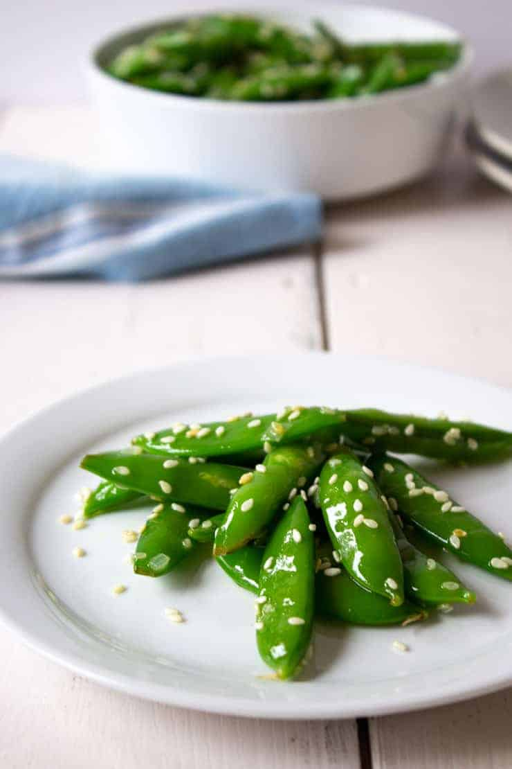 Sugar snap peas with toasted sesame seeds.