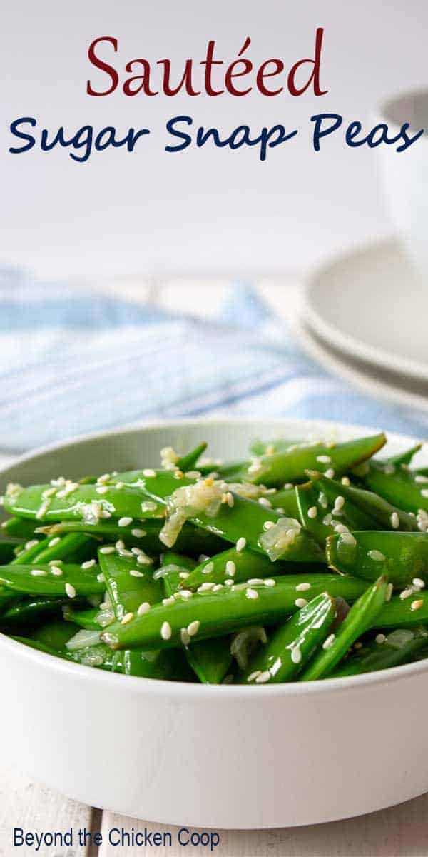 A bowl of bright green peas.
