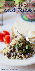 Black beans and rice on a plate with tortillas and tomatoes in the background.