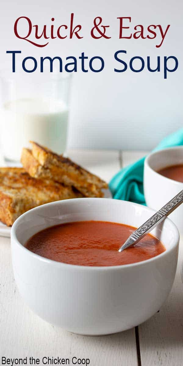A bowl filled with tomato soup with a spoon in the bowl.