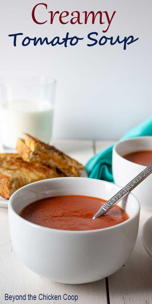 Creamy tomato soup in a white bowl.