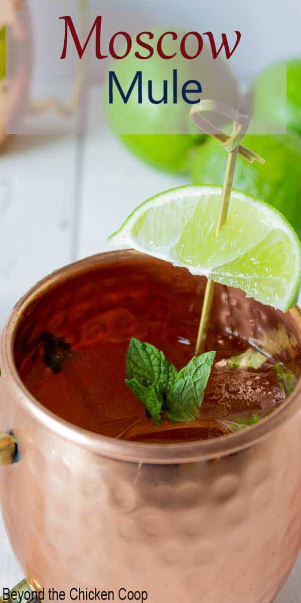A copper mug topped with a fresh lime wedge.