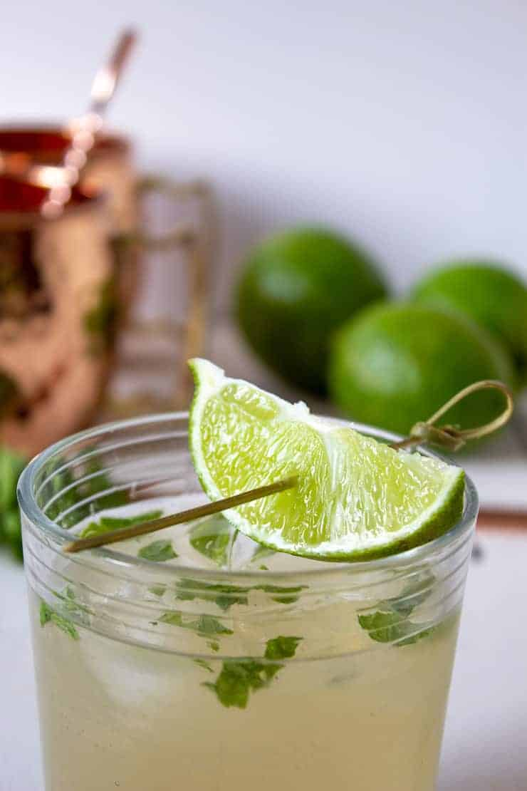 This Moscow Mule is made with fresh limes and ginger ale.