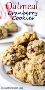 Oatmeal cranberry cookies piled on a white plate.