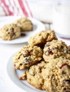 Oatmeal Cranberry Cookies are made with dried cranberries. These cookies are crisp on the outside and chewy on the inside.