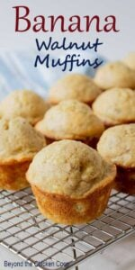 Banana Walnut Muffins on a baking rack
