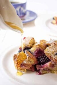 Delicious French Toast Casserole with blackberries and maple syrup.