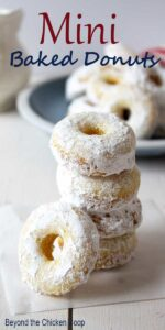 Mini Baked Donuts stacked in a tower.