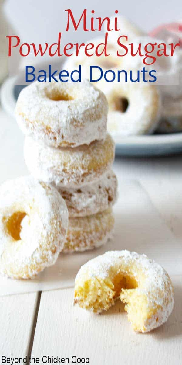 Mini donuts rolled in powdered sugar.