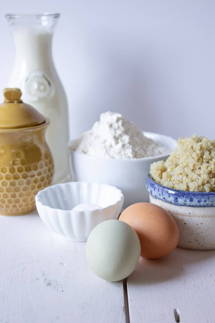 Ingredients for making quinoa pancakes