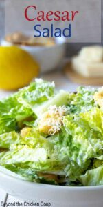 Salad topped with shredded cheese and croutons.
