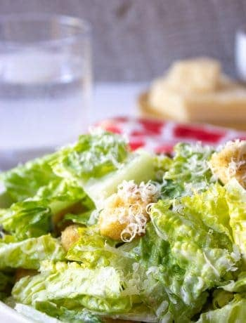 Homemade Caesar Salad made with a creamy Caesar salad dressing.