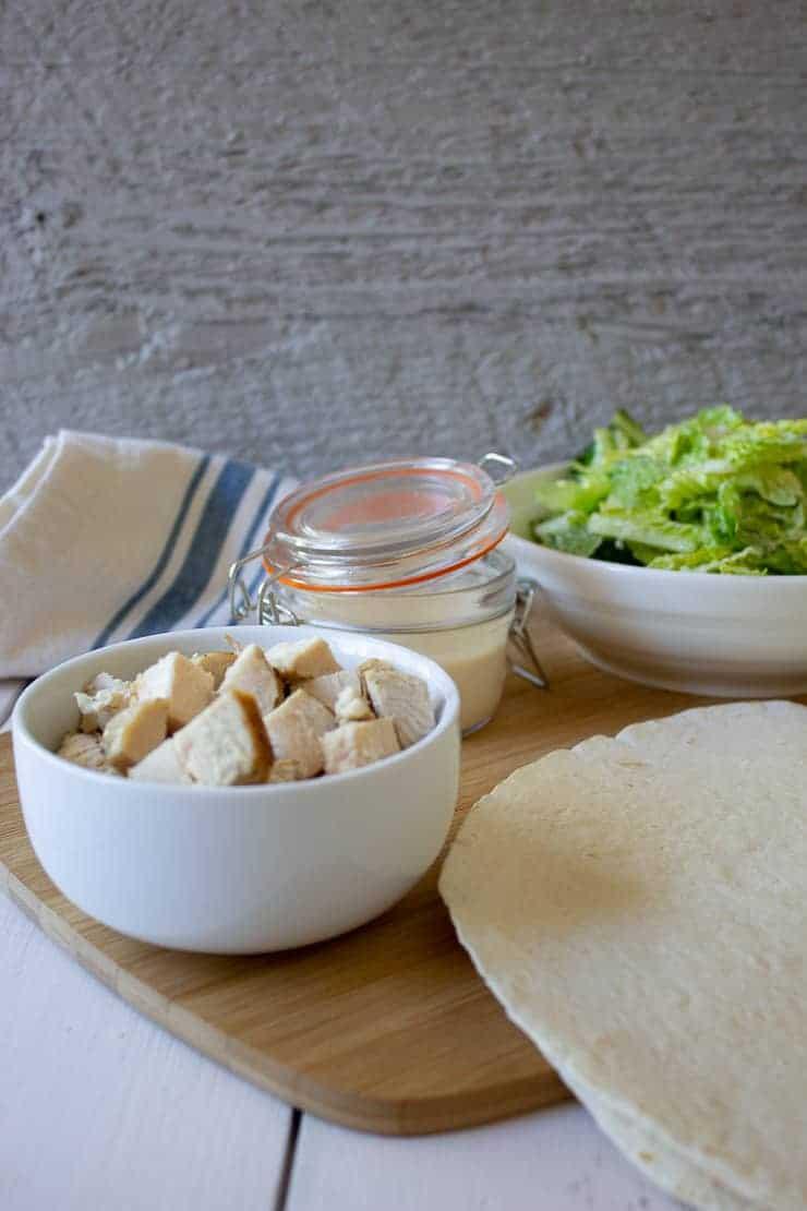 Ingredients for Chicken Caesar Wraps