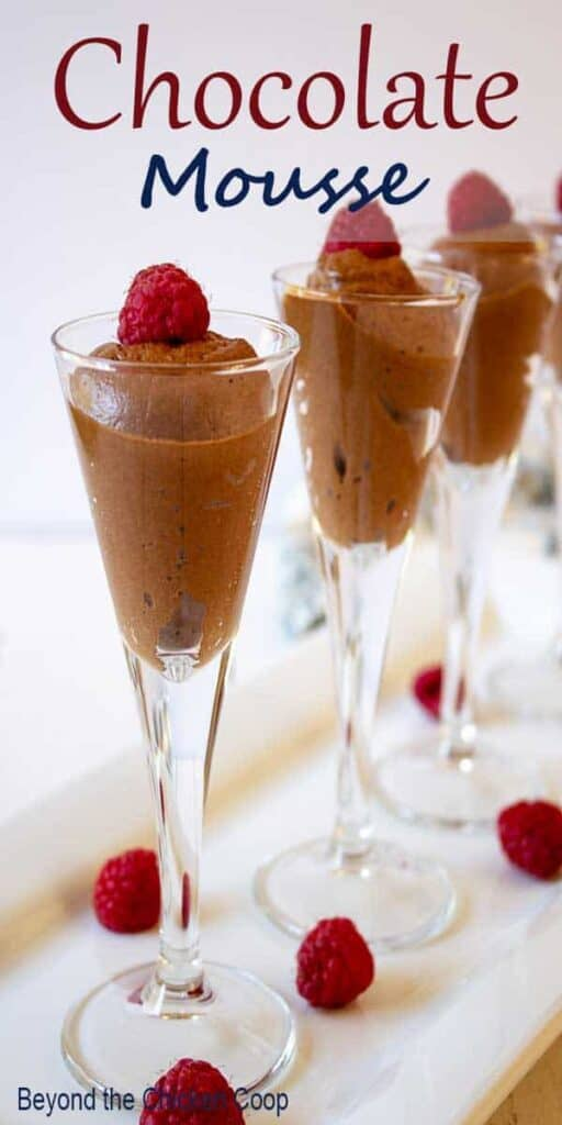 Chocolate mousse topped with fresh raspberries.