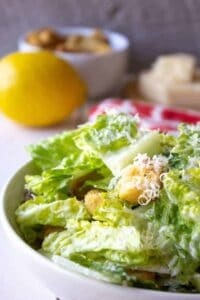 Caesar Salad made with creamy Caesar Dressing.