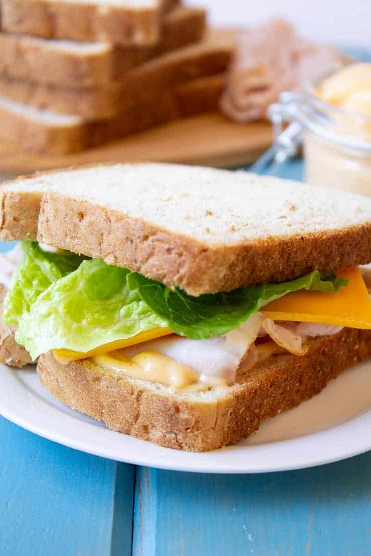 A turkey sandwich with homemade miracle whip