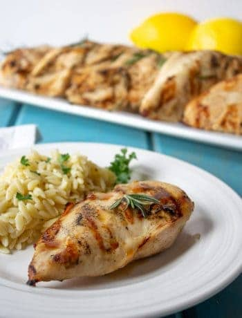 Lemon Rosemary Grilled Chicken served with orzo pasta.