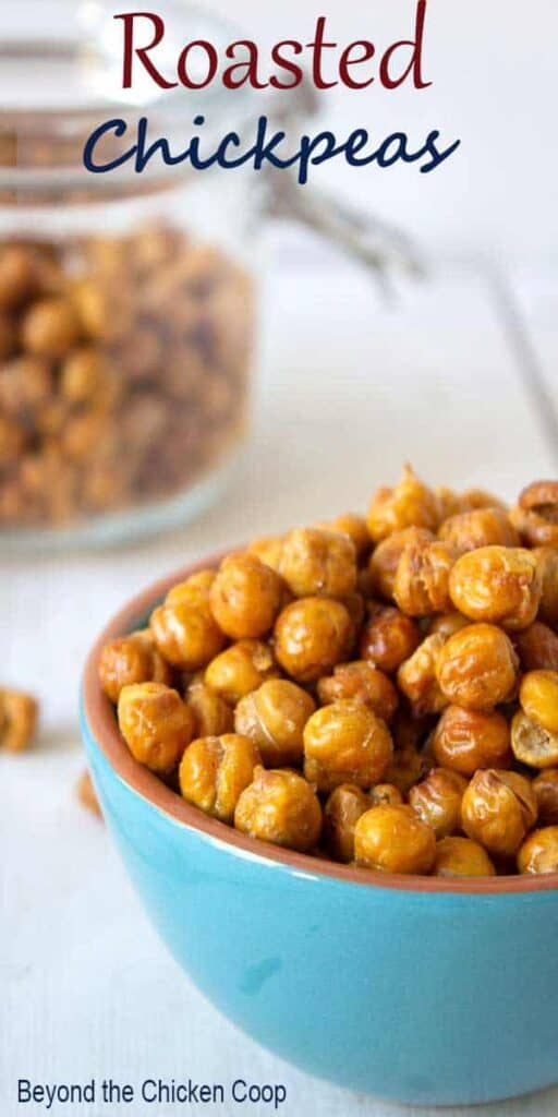 Roasted Chickpeas in a small turquoise bowl.