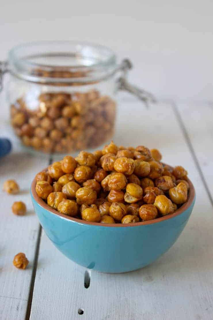 Roasted chickpeas in a small bowl