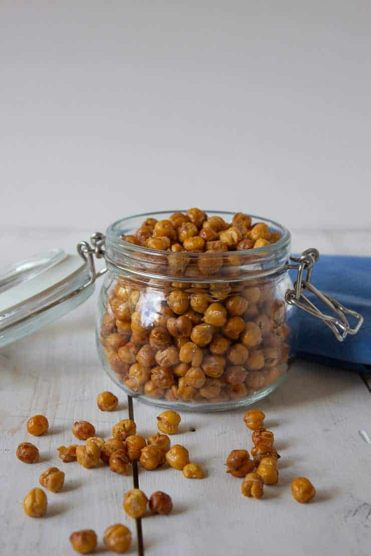 Roasted Chickpeas in a glass crock