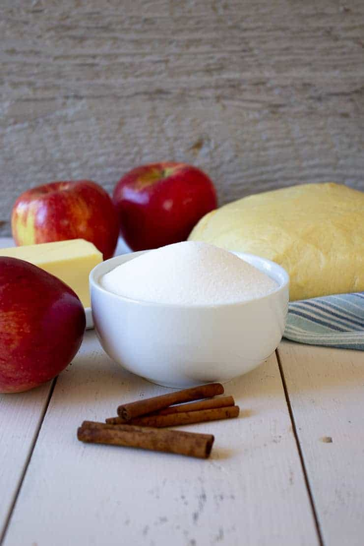Ingredients for apple pull apart bread